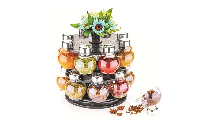 ATMAN 360 Degree Revolving Round Shape Transparent Spice Rack 1560417974014