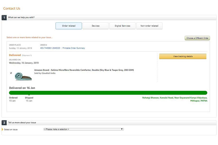 Amazon Customer Care- Step 5