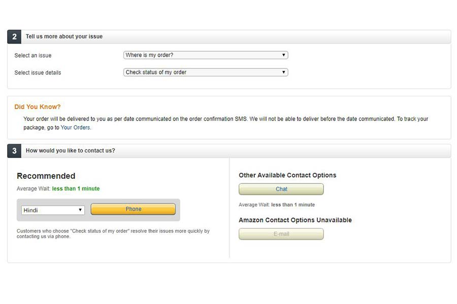 Amazon Customer Care- Step 6