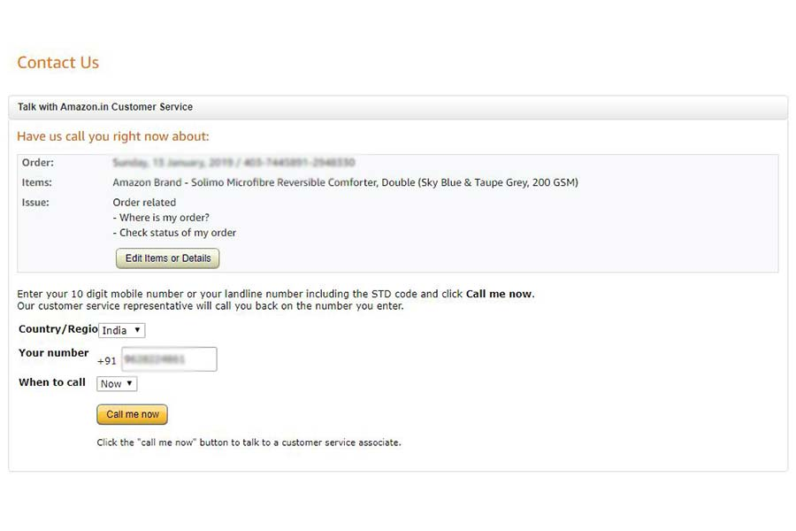 Amazon Customer Care- Step 7