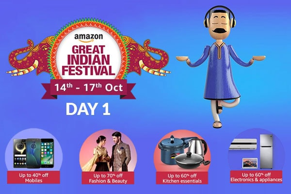 Day 1 of The Amazon Great Indian Festival Sale Offer, 14th-17th Oct 2017, Check for Best Deals and Offers of the Amazon Great Indian Sale here!