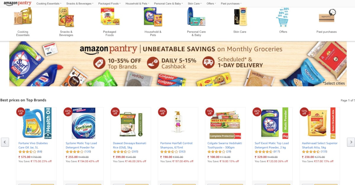 Amazon Pantry Grocery Box Service Expands to 110 Indian Cities