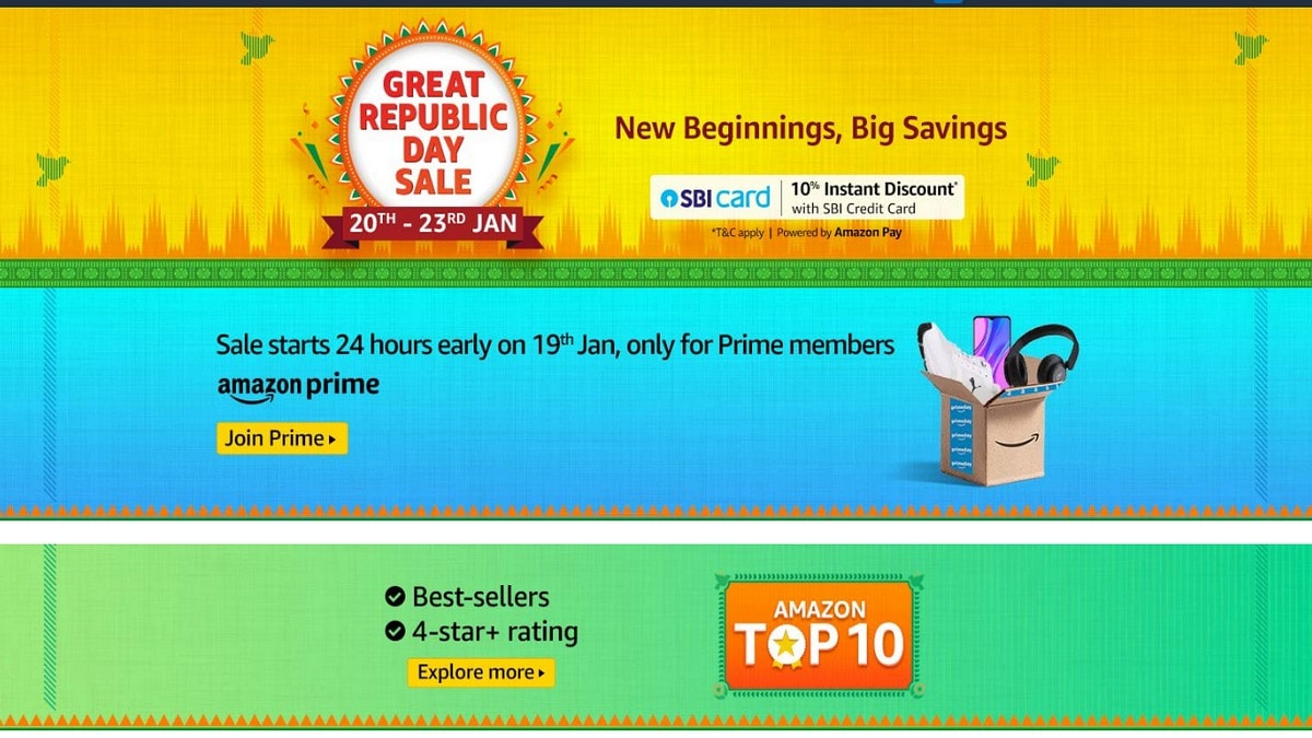 Amazon Great Republic Day Sale Starting From January 20 With Discounts on Smartphones, Electronics, TVs, More