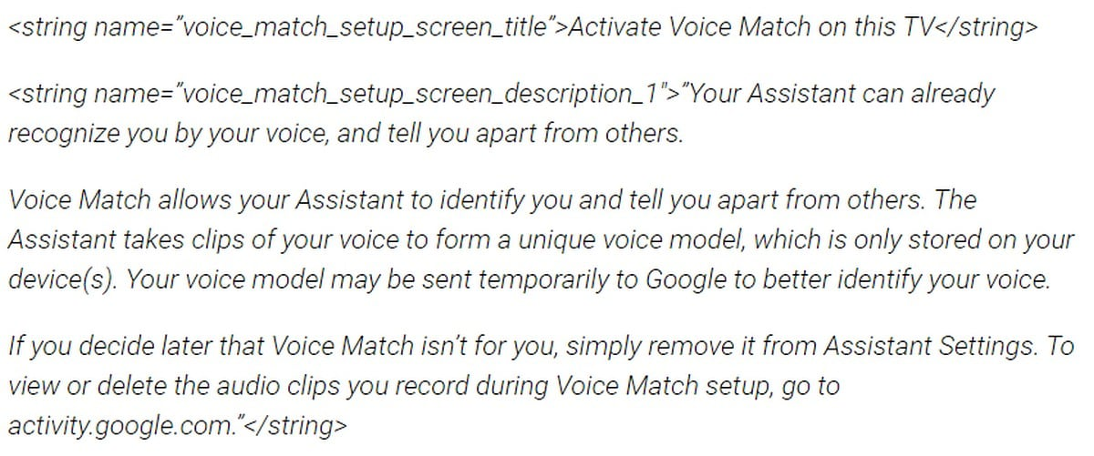 Android tv voice match inline sfdgg