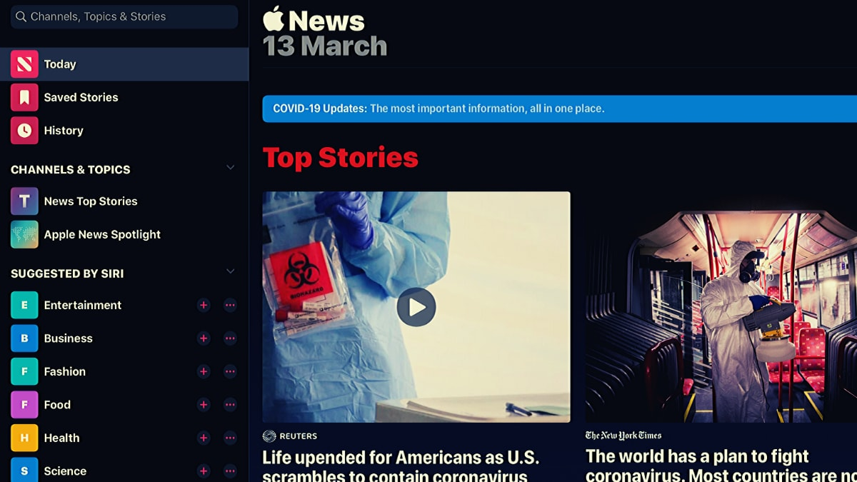 Apple News App Gets Special Coronavirus Coverage Sections