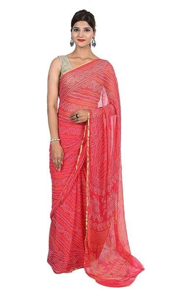 Bandhani Saree Bilochis Women Chiffon Bandhej Printed Saree 1559110312618