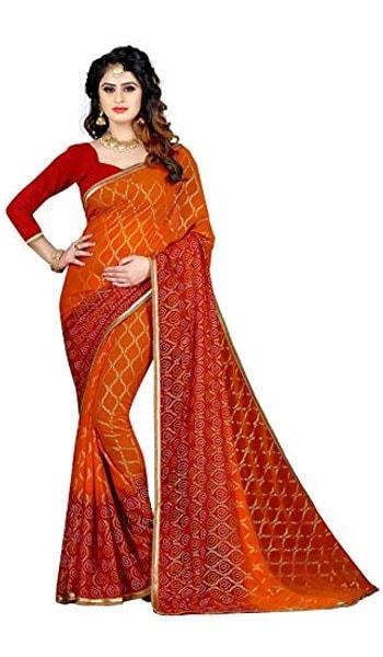 Bandhani Saree RAJASTHANI BANDEJ women gharchola print saree 1559110404318