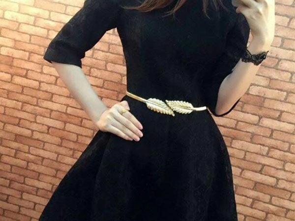 Belt For Saree Romp Fashion Golden Leave Stylish Stretchable Waist Belt 1557221271046
