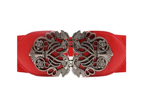 Belt For Saree Voberry Vintage Wide Elastic Stretch Metal Buckle Waist Belt 1557222490050