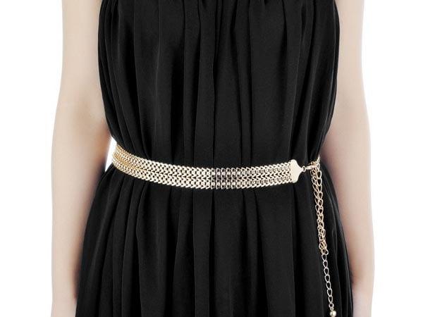 Belt For Saree Womens W Shaped Crystal Metal Waist Chain Belt 1557212730935