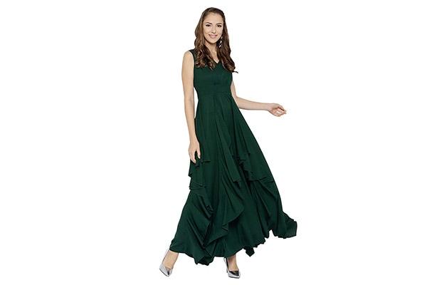 Berrylush Solid Maxi Dress for Women 1613071989283
