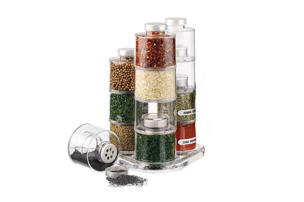 Best Kitchen organizer ORPIO LABLE 6 Bottle Plastic Stackable Spice Rack Carousel Spice Tower Rack with Lids 1558527494429