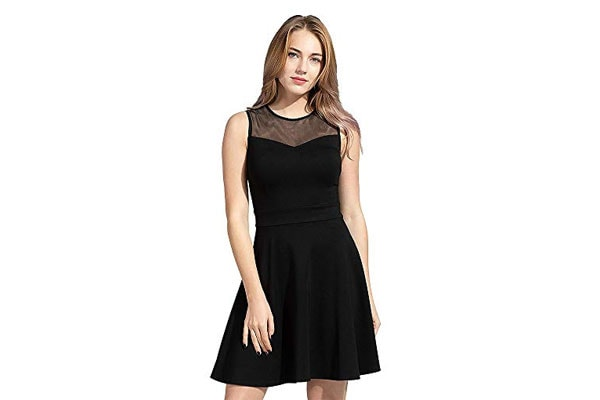 ILLI LONDON Women's MESH Sleeveless Skater A-LINE Dress