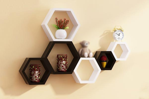 Santosha Decor Hexagon Shape Set of 6 Floating Wall Shelves