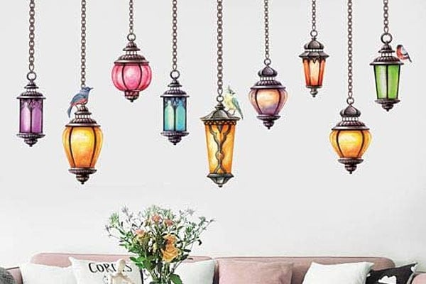 World Beauty's 1PC Colorful Hanging Lamp Wall Decals Exotic Stickers