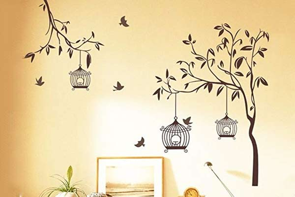 'Tree with Birds and Cages' Wall Sticker