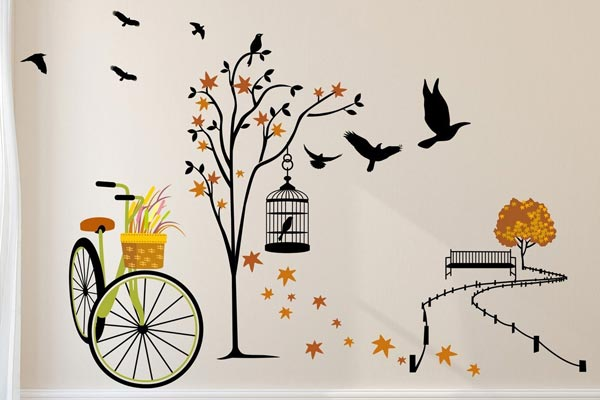 Ride through Nature, Solimo Wall Sticker for Living Room