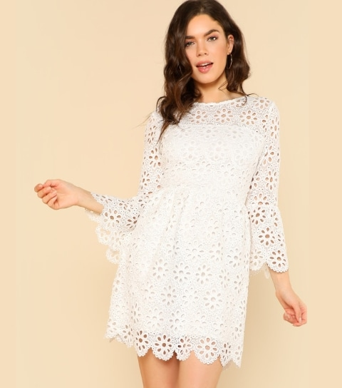 7abe475c03 Best Floral Dresses For Women From SheIn- SHEIN Trumpet Sleeve Eyelet Lace  Scallop Dress Photo Credit: SheIn.in