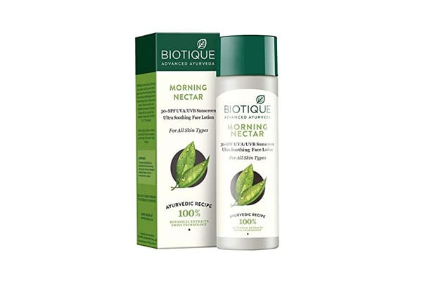 Best sunscreen in India Biotique Bio Morning Nectar Sunscreen Ultra Soothing Face Lotion, SPF 30+, 120ml