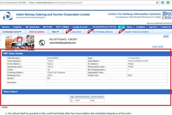 Check PNR Status 4 600
