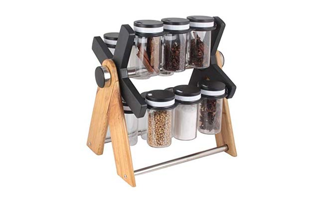 Chefstar Multipurpose Plastic Wooden Wheel Spice Rack 1560418276137