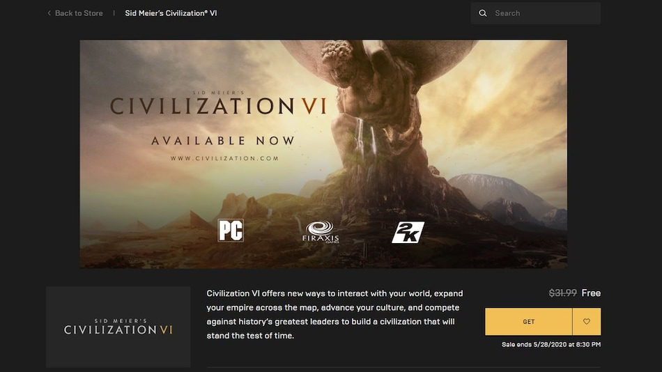 Sid Meier's Civilization VI Is Free for PC on the Epic Games Store Till May 28