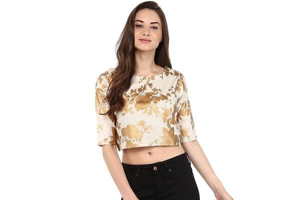 27e55d3a24d34e Crop Tops Online-Rosah Gold Print Cotton Crop Top Photo Credit  Amazon.in