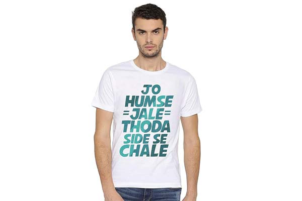 DSPrinting Unisex Humse Jale Thoda Side Chale Slogan Printed T Shirt 1559211166566