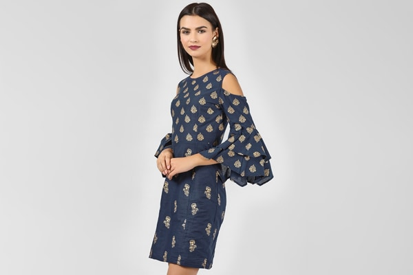 Navy Block Print Cold Shoulder Dress