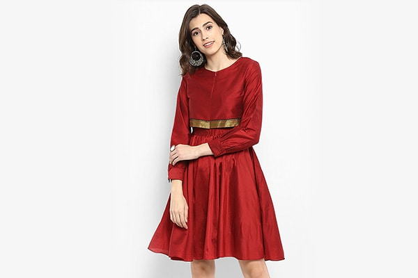 Maroon Fit and Flare Dress