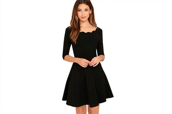 Black A-line Skater Dress