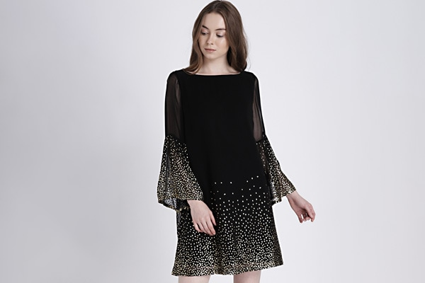 GAP Black Flared Sleeve Glitter Print Dress