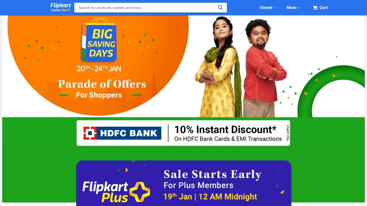 Flipkart Big Saving Days Sale With Offers on Mobiles, Tablets Starting January 20