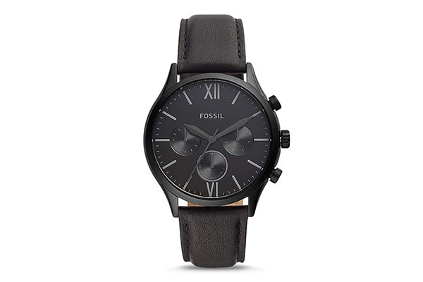 Fossil Chronograph Mens Watch Black Dial Black Colored Strap 1613401561318