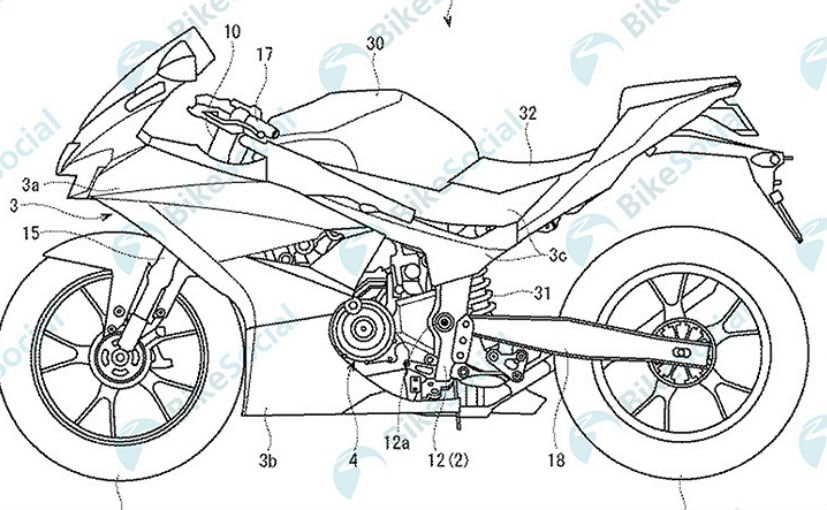 The patent shows that the new 300 cc sportbike from Suzuki will be a parallel-twin