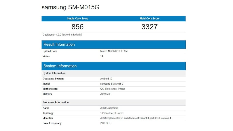 Samsung Galaxy M01 With 3GB RAM, Android 10 Spotted on Geekbench, Other Details Tipped