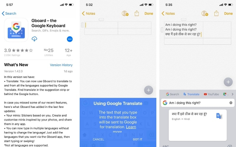 Gboard for iOS now has in-app translation capabilities