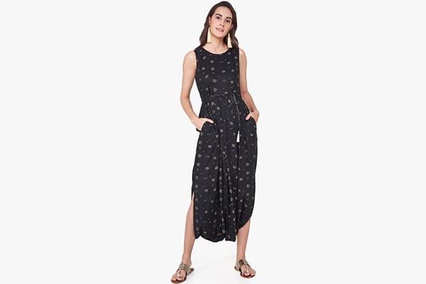 b81d1de7c9a9 Dhoti Jumpsuit  Global Desi Black Printed Basic Jumpsuit