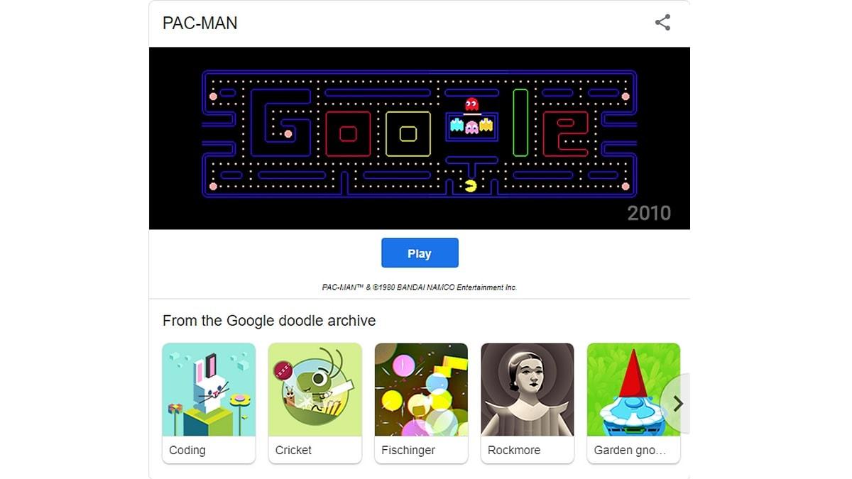Google doodle pac man may 8 pac