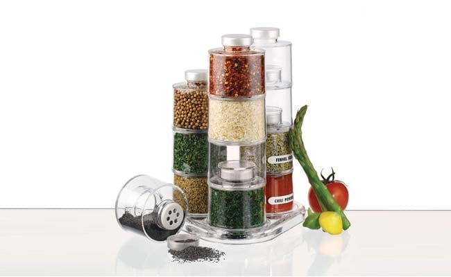 GosFrid Set of 6 Storage Spice Rack Tower Stacking Box Bottles with Sifter Lids 1560418240113