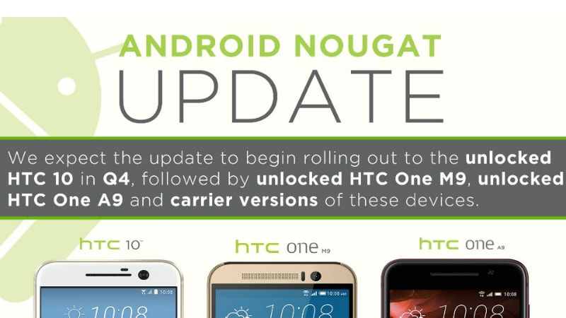 HTC Reveals Android Nougat Update Schedule; Backtracks on One A9 Promise