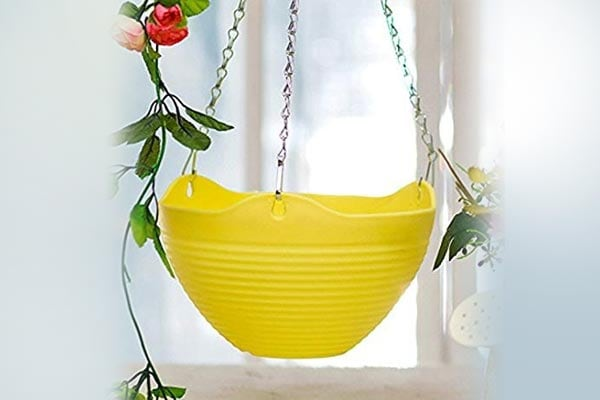 3 PCS Plain Color Round Plastic Hanging Planter Flower Pot with Metal Chain for Home and Garden Indoor Plant