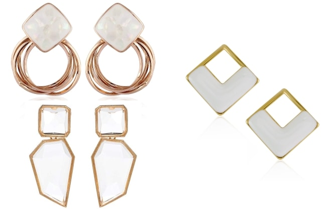 Hina Khan Style Game Statement White Earrings 1559040506993