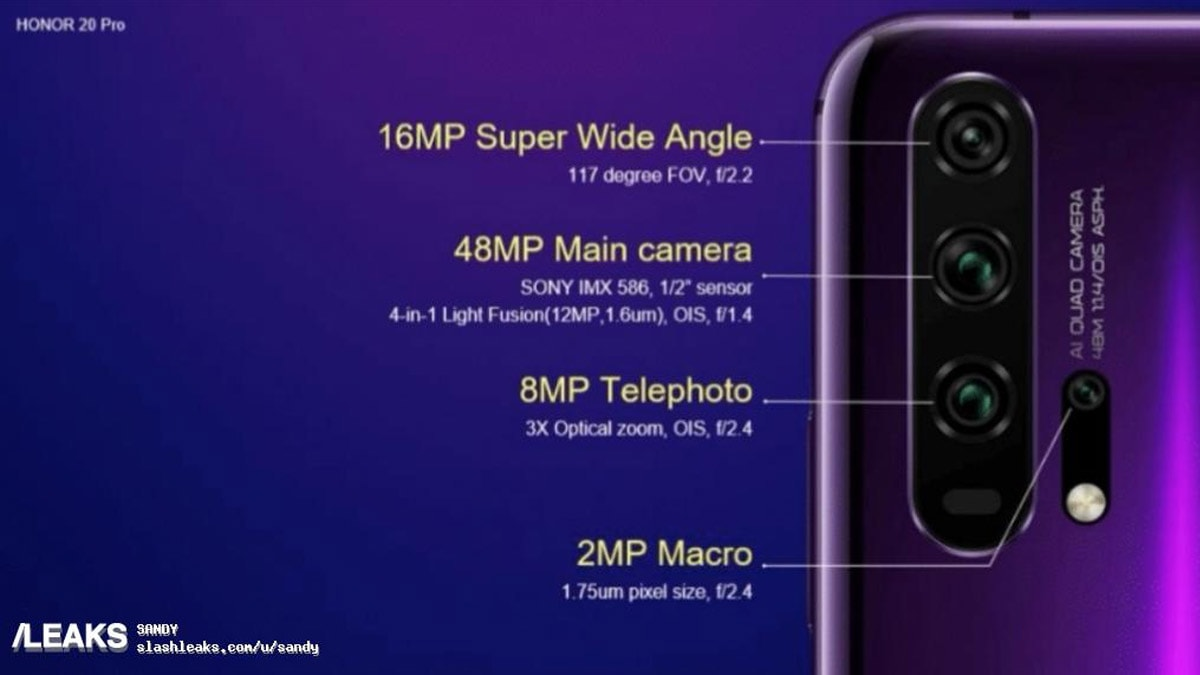 Honor 20, Honor 20 Pro Leaked Renders Tip 48-Megapixel Sensor, 3x Optical Zoom, and More