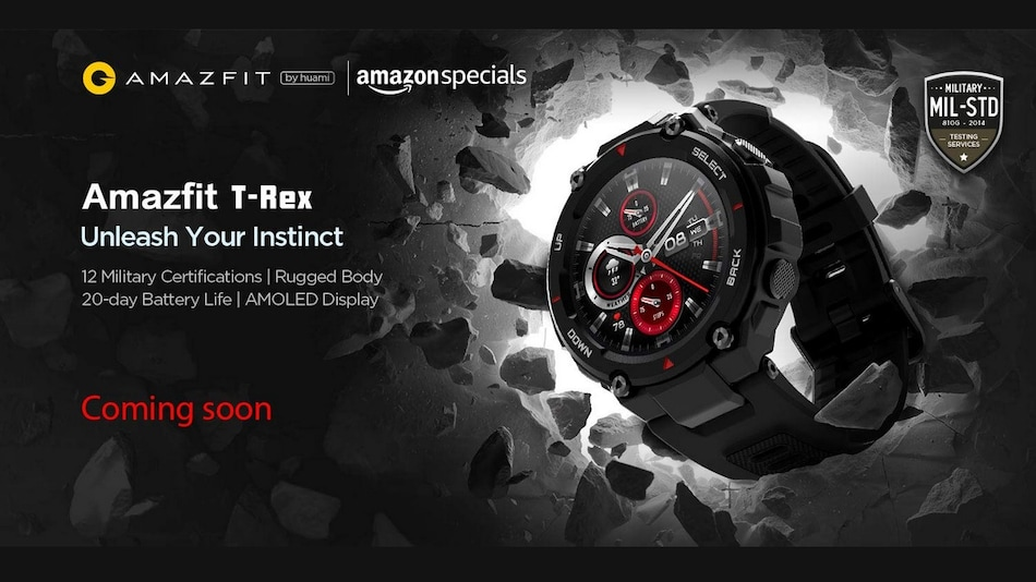 Amazfit T-Rex Smartwatch With 20-Day Battery Life Launching in India in June
