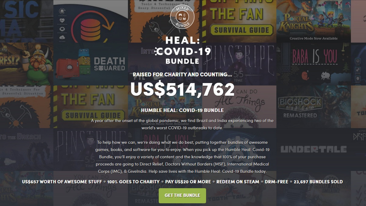 COVID-19 Bundle from Humble Offers Games, Books, Software for  to Raise Funds for Relief Work in India, Brazil