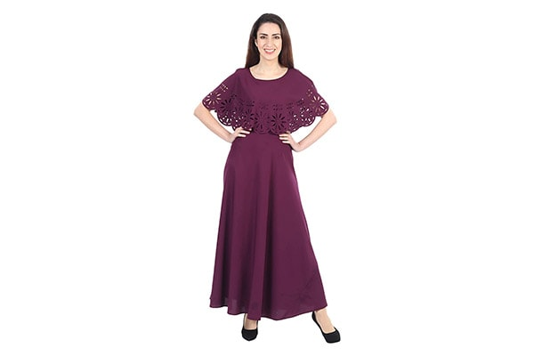 IQRA FASHION Womens Fit And Flare Maxi 1613072234380