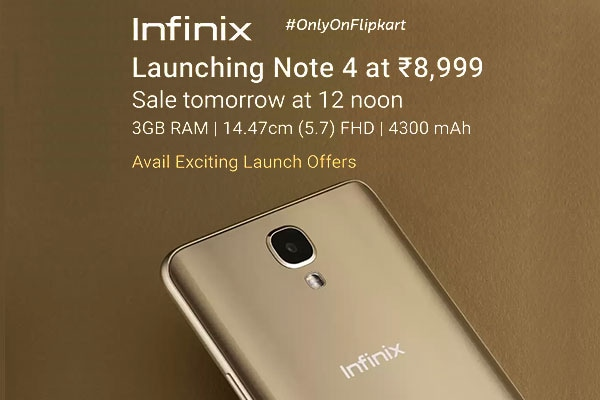 Infinix Note 4 Sale To Begin Exclusively on August 3rd at 12pm On Flipkart