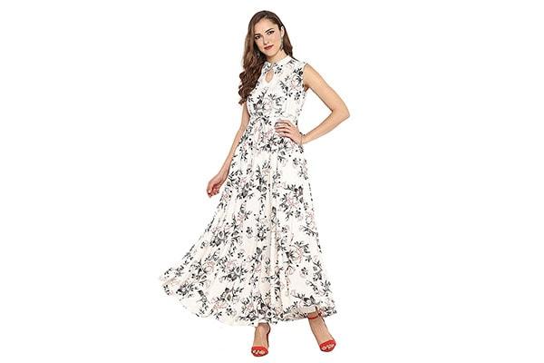 Janasya Womens Rayon Floral Print Flared Gown 1613070287926