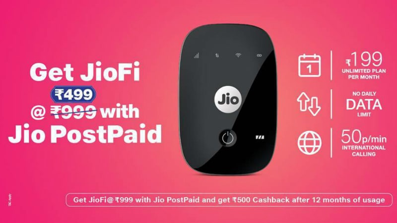 Jio Announces New Cashback Offer, Lowers JioFi Effective Price to Rs